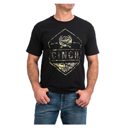 Cinch Men's Black and Camo Logo T Shirt