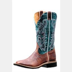 Boulet Ladies Blue Cowboy Boots Wide Square Toe