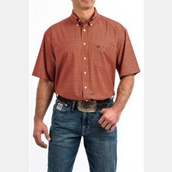 Cinch Men's Short Sleeve Orange Print Western Shirt