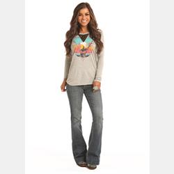 Rock N Roll Cowgirl Junior Grey Long Sleeve T Shirt