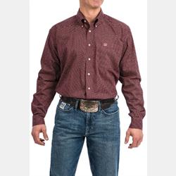 Cinch Men's Burgundy Geo Print Button Down Western Shirt