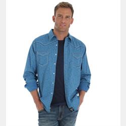 Wrangler Rock 47 Blue Snaps Aztec Western Shirt