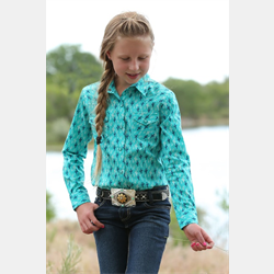 Cruel Girl Turquoise Cactus Print Snap Front Western Shirt