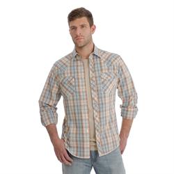 Wrangler Men's  Fashion Shap Front Orange Gray Plaid Shirt