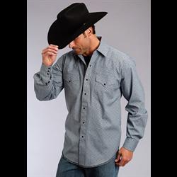 Stetson Western Snap Shirt Navy/Lt Blue Geo Print