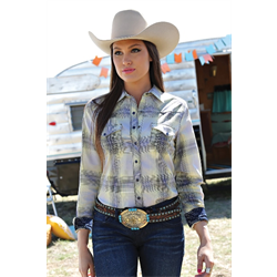 Cruel Girl Ladies Western Shirt Yellow/Gray Plaid