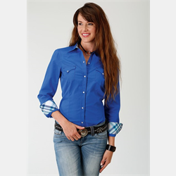 Roper Women's West Made Collection Shirt Solid Blue