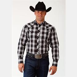 Roper Men's Western Style Shirt Black Silver Stripes